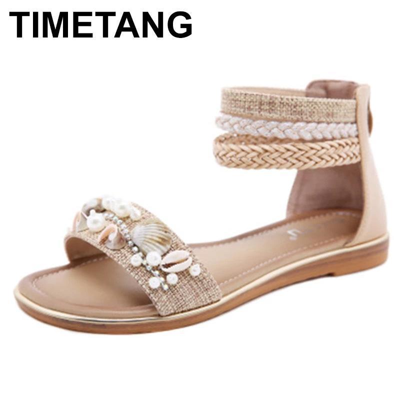Сандалии TimeTang 2021 Весна / Летние Мода Женщины Повседневная Обувь Женская Ретро Бисероплете Сверла Сверла