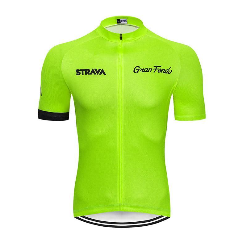 Новое поступление мужчин Strava Team Велоспорт Джерси с коротким рукавом вершины дышащей дороги велосипед рубашка гоночная одежда MTB велосипедная форма S21030127