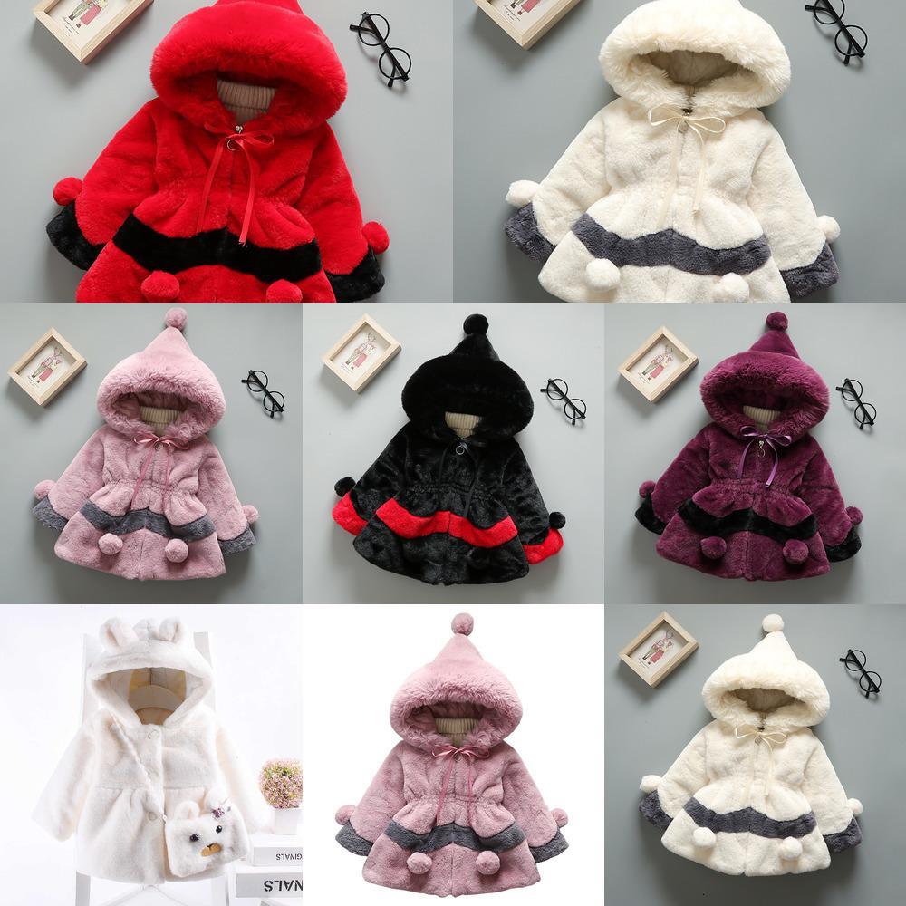 Niñas de invierno cálidas niños abrigos moda gruesa con capucha de terciopelo para niñas de babay niños ropa exterior de piel de pie ropa para niños pequeños 1 2 3 4 5 años Wolvv