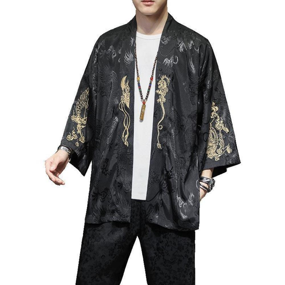M-5XL Dragon Print Kimono Männer Japanisch Kimono Strickjacke Harajuku Hemden Männer Streetwear Hawaiianisches Hemd 2020 Neue xxxxxl