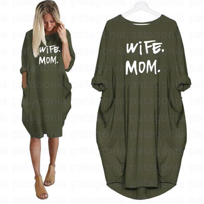 Жена мама летние платья повседневные женщины мода круглые шеи футболка с длинным рукавом sundress тонкий сексуальное платье плюс размер s-5xl