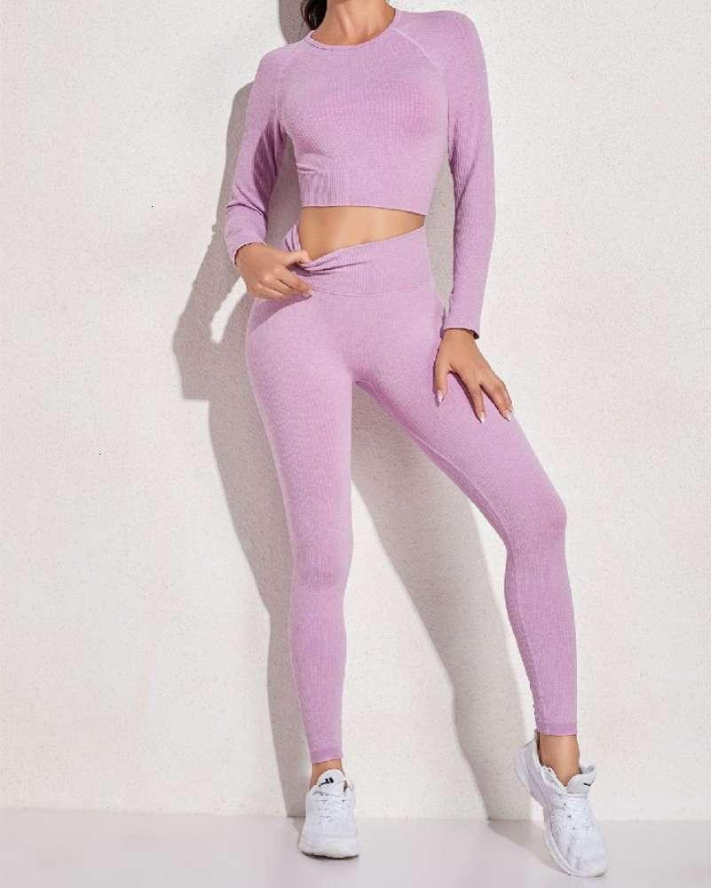 Seamless sports breathable sweat absorbing Long Sleeve Top + pants 2-piece set (8 colors) tracksuit