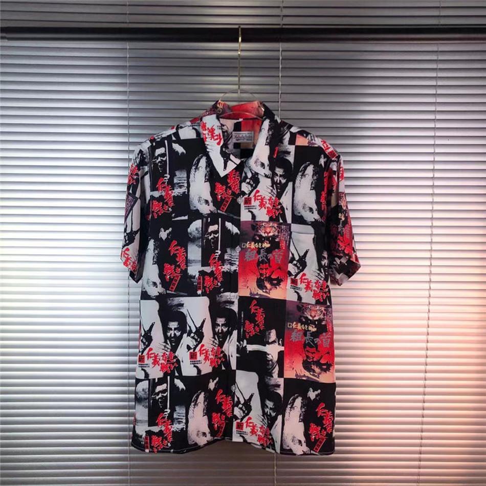 2021 Yeni Wacko Maria Gömlek Kadınlar 1: 1 En İyi Kaliteli Streetwear Erkekler Giyim için Tees Gömlek SG1I