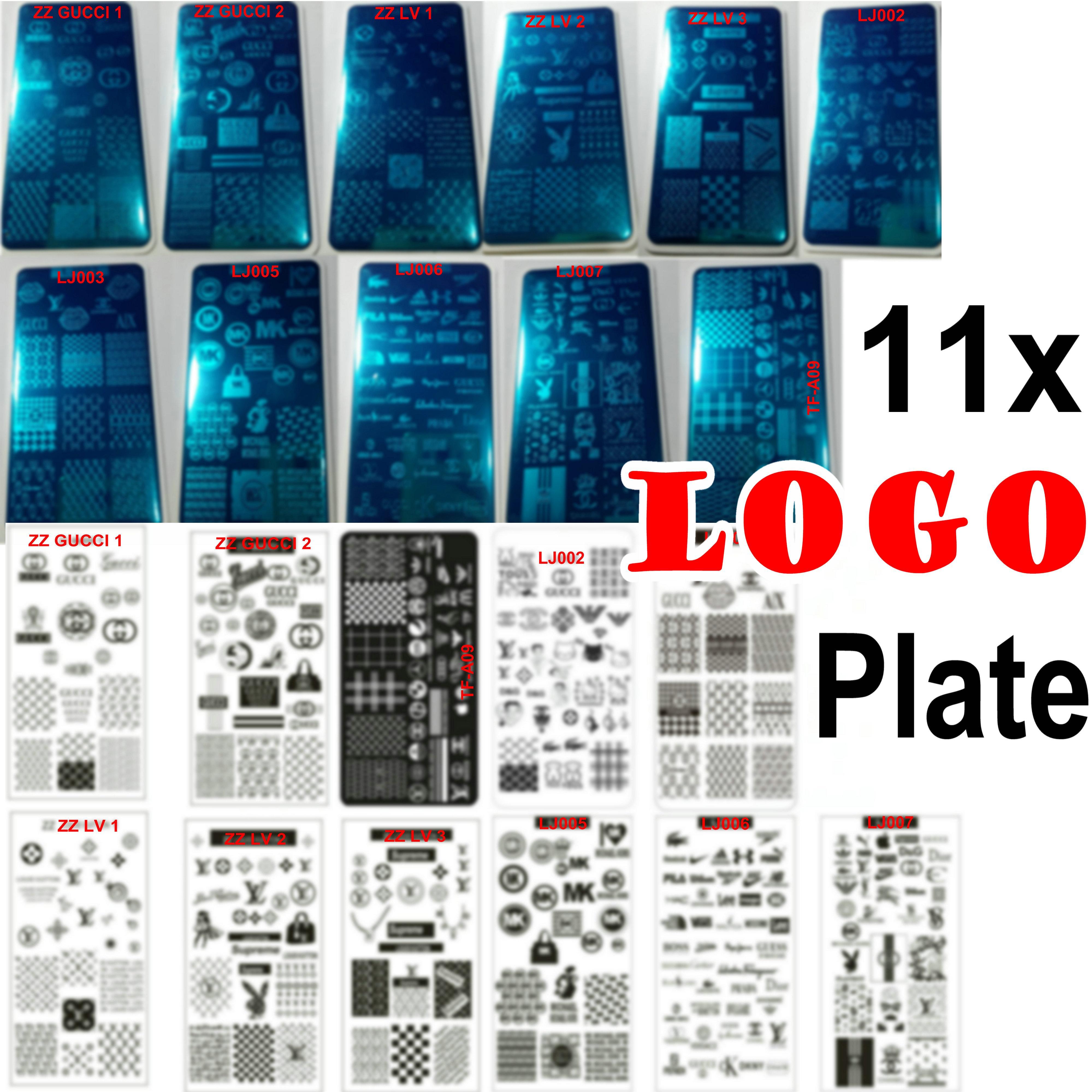 11 stücke Big lo Go Marken Design Nail art Stamping Platte Stempel Vollständig Französisch Bild Metallschablettübertragung Polnische Druckvorlage mit Kunststofffolie