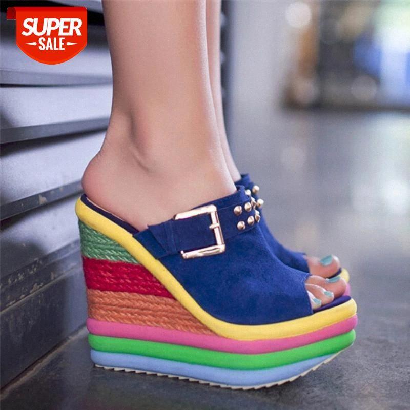 2020 Nouveau été Sexy Bohemia Casual Rainbow Peep Toe Plateforme Plateforme Sandales pour Womens Sandalias Plataforma Chaussures High Y5263 # Ed1p