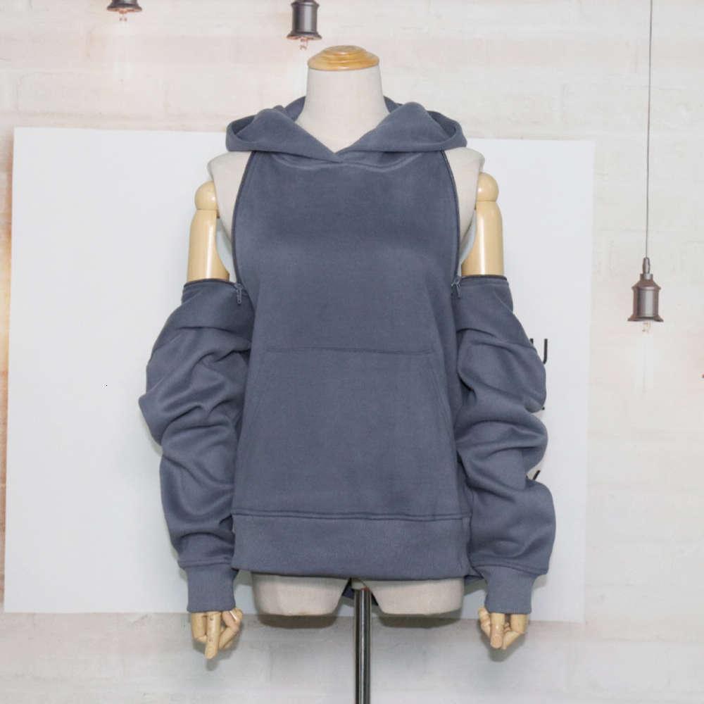 Sexy abierta atrás dos desgaste con capucha de mujer con capucha de manga larga suelta color sólido sólido versátil versátil top
