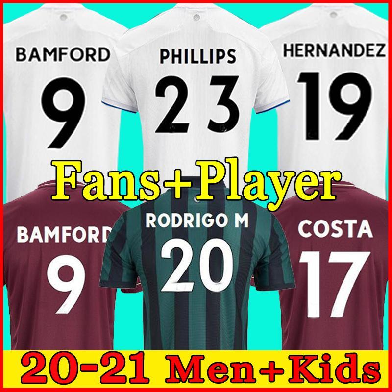 2020 2021 리즈 유나이티드 100 주년 기념 축구 유니폼 코스타 100 Centenary Bamford Clarke 100 년 남성과 어린이 팬 축구 셔츠