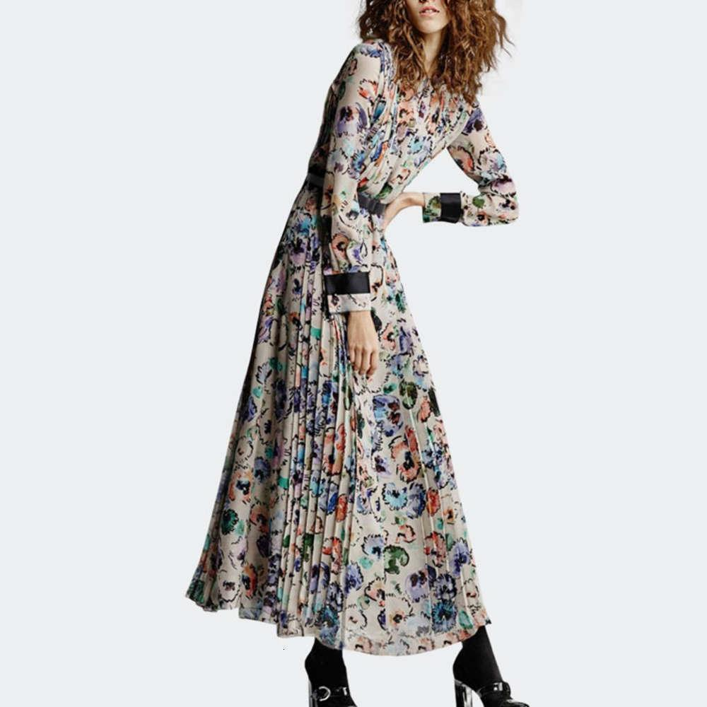 Платье Печать Женская осень и зима Иностранного стиля Досуг Французский длинный темперамент с плиссированной юбкой