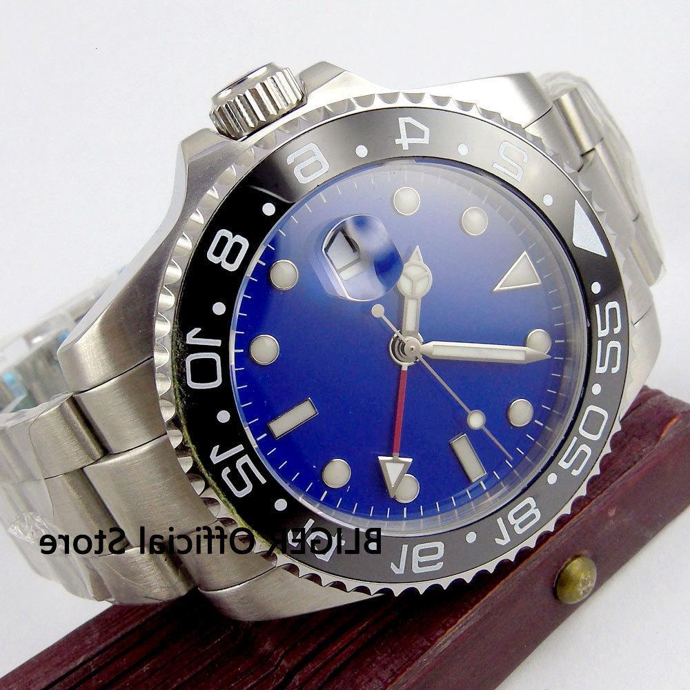 Sapphire Cam 4 M Mavi Steril Ütü Masası Siyah Seramik Masa Örtüsü Aydınlık İşaretleri GMT Fonksiyonu Otomatik Clockwork Erkekler Kol Saati İzle