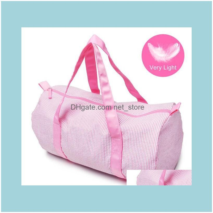 Sport&Outdoor Packs Bags, Lage & Aessories30Pcs Women Seersucker Stripes Printing Round Shaped Sport Duffel Bags Mix Color Drop Delivery 202
