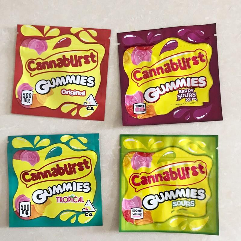 edibles packing 500mg Cannaburst Brownie Canna Butter Edible Bag Gummy Packaging Smell Proof Mylar Pack for Cereal Treats