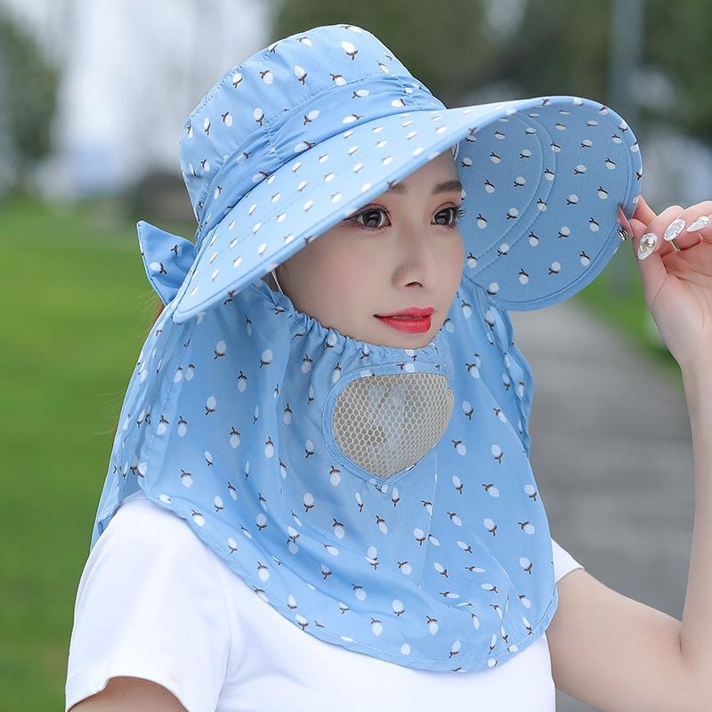 Novo chá sol picking protetor solar rosto rosto verão chapéu menina fazenda trabalho ao ar livre