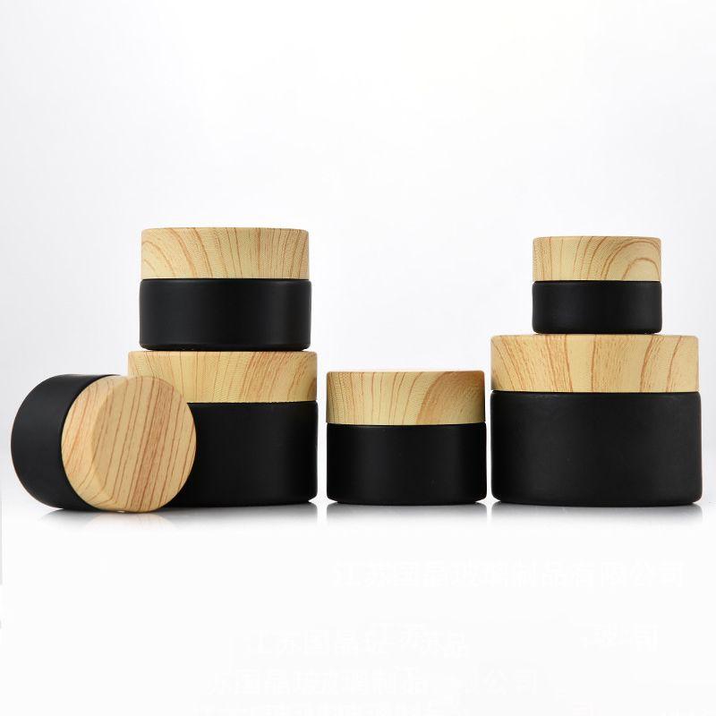 100 stücke Black Mattglas Gläser Kosmetische Gläser mit Holzgrain Kunststoffdeckel Balm 5g 10g 15g 20g 30g 50g Lip Gloss Kosmetikbehälter