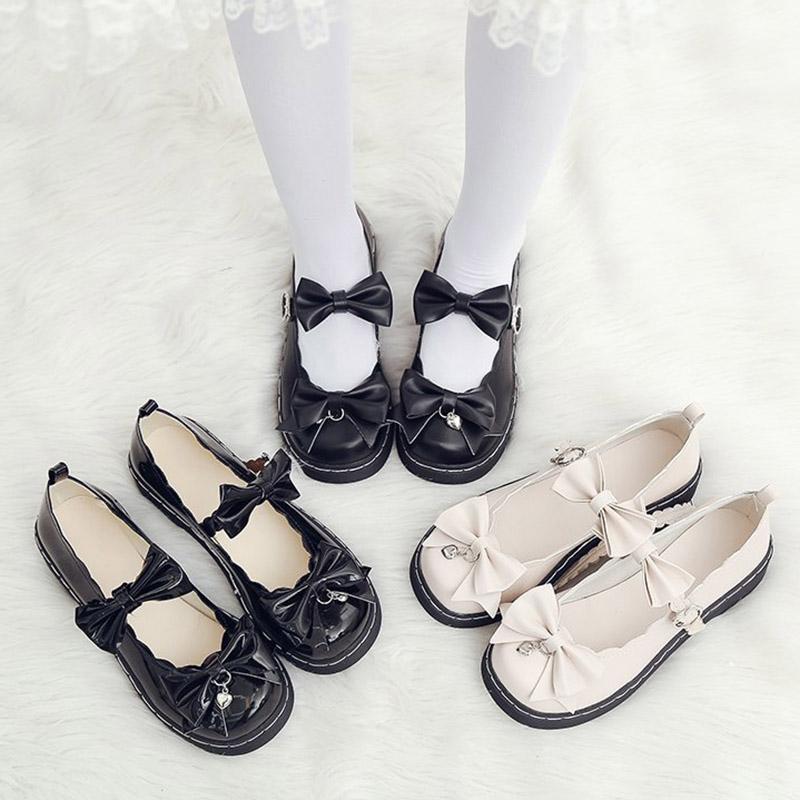 Lolita ayakkabı papyon kızlar için mary janes ayakkabı ayak bileği toka rahat ayakkabılar kadın flats platform kristal mujer 8693n