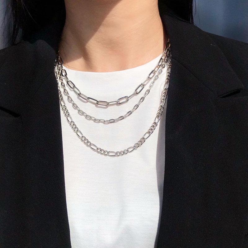 Цепи SRCOI модный простые трехслойные овальные звена цепь геометрические металлические Figaro Stacked костюм ожерелье женщины ежедневные украшения