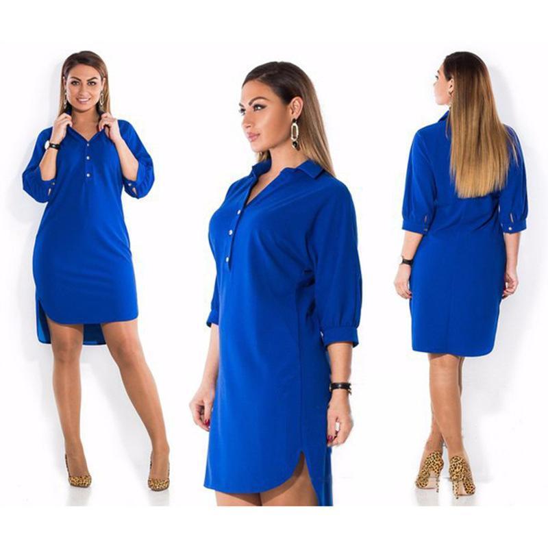 Frauen Kleider Große Größe Herbstkleider Mode Langarm Solid Casual Kleid Lose Unregelmäßige Midi Hemd Kleid Plus Größe Frauen Kleidung