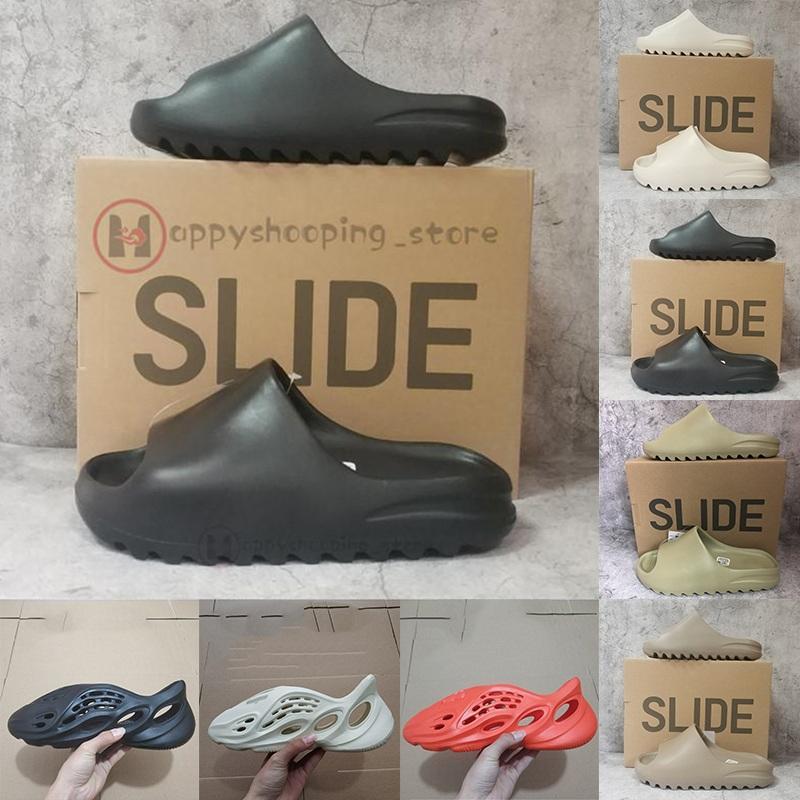 2021 Verão Moda Sandálias Para Homens Mulheres Sandálias Foam Runner Triplo Preto Resina Branca Designers Slides Sapatilhas Mocassins Praia Sapatos Eur36-45