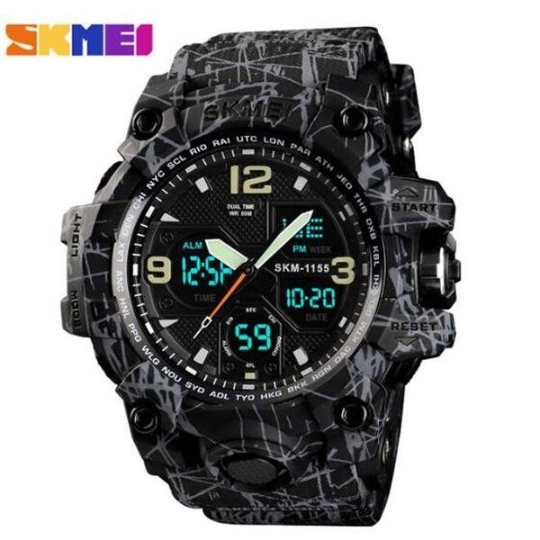 Sportuhr Männer SKMEI Mode Frauen Uhr Männer Edelstahlband LED Displayuhren 3bar Wasserdichte Digitaluhr Montre Homme Reloj