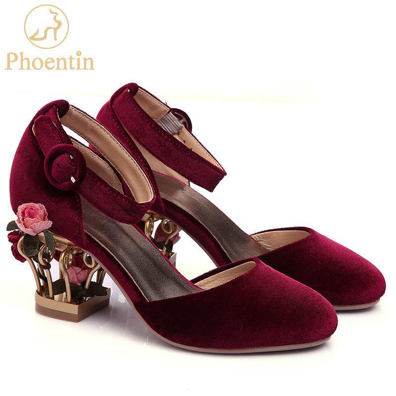 Phoentin Ayak Bileği Kayışı Toka Düğün Ayakkabı Kadın Kuş Kafesi Çiçek Topuk kadın Hakiki Deri Ayakkabı Pompaları Kadife Mary Jane FT266 210225