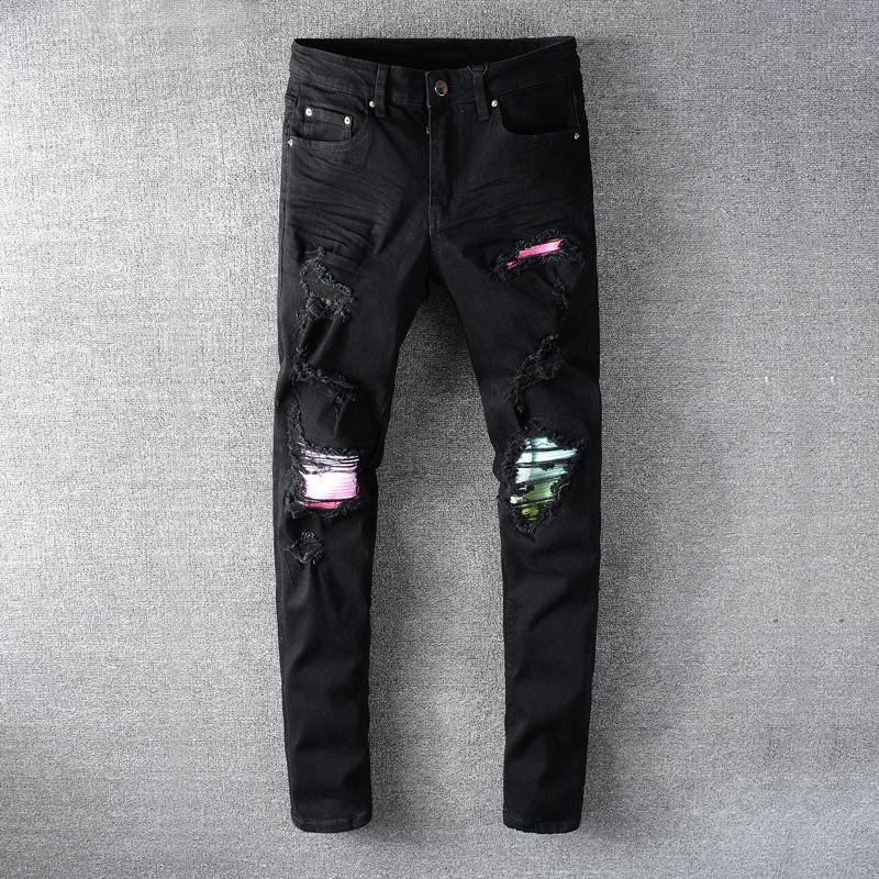 2021 Yeni Moda Streetwear Siyah Slim Fit Yırtık Erkekler Yüksek Kaliteli Punk Pantolon Patchwork Tasarımcısı Hip Hop Jeans Homme 6il6