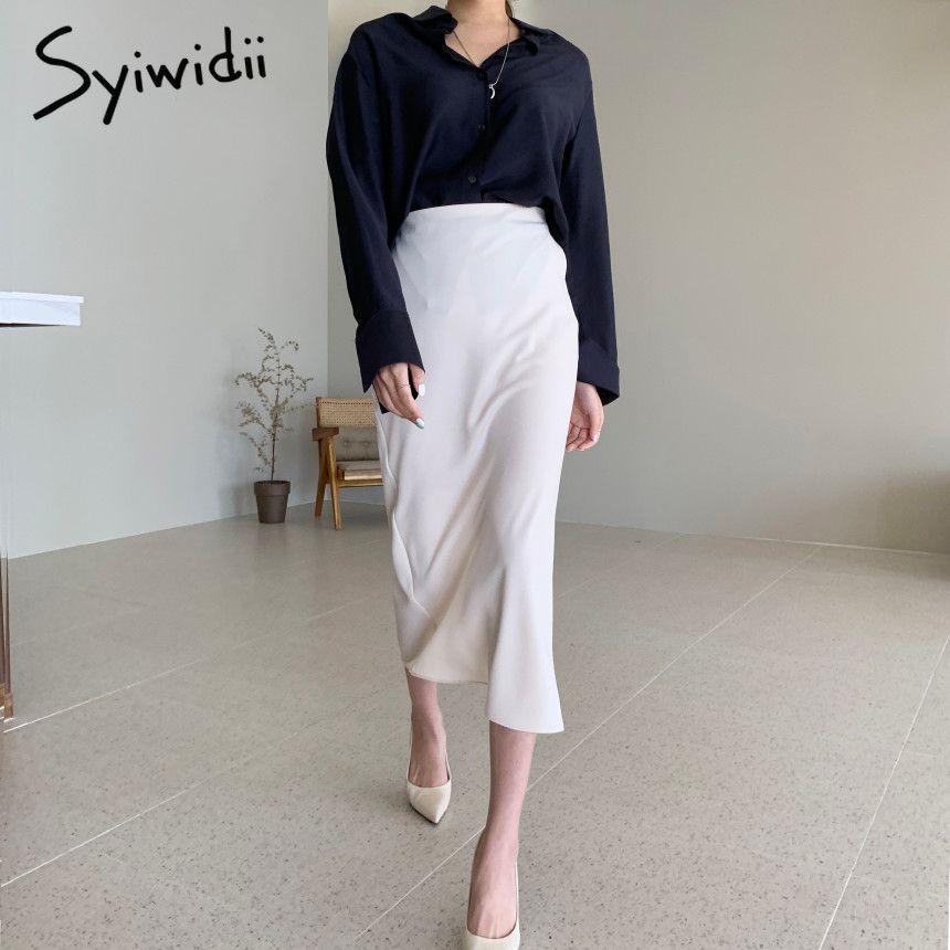 Syiwidii Office Lady Jupes à crayon Femme Crayon Solide Mid-mollet Empire Midi Coréen Vêtements 2021 Spring Summer Grey Beige Split Q0119