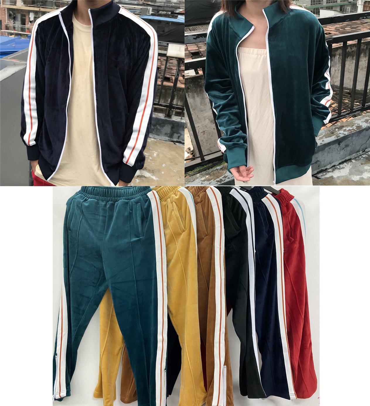 Мужские дизайнеры Одежда 2020 бархатный мужской трексуит Мужская куртка толстовка или брюки мужская одежда спортивные толстовки с толстовками со стоками S-S-XL PA2578