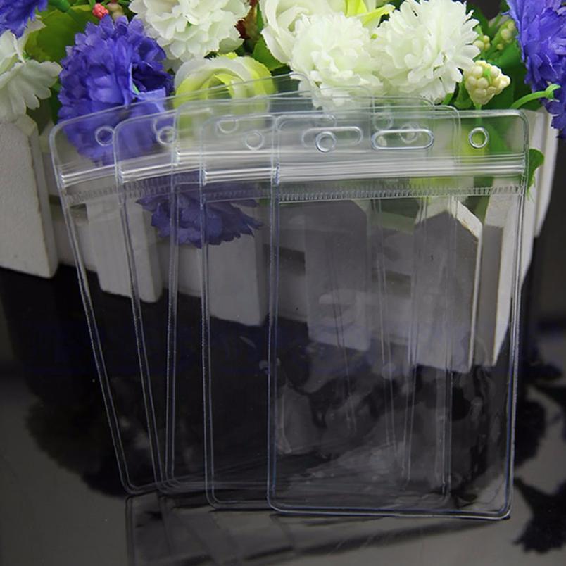 5 x Limpar Conveniente Transparente PVC Badge Work Exhibition ID Nome À Prova D 'Água Cartão Tronco No Zíper Casual Sólido Jllzwh
