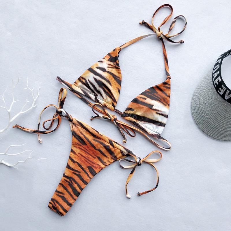 Tiger Animal Print Bikini 2020 Mujer Bandage Push Up Padded Micro Swimsuit High Cut Women Bathing Suit Thong Swimwear Biquini