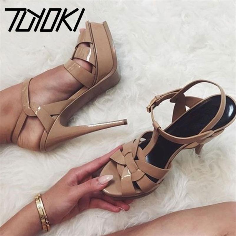 TUYOKI Tacones altos Sandalias Mujeres Genuina Plataforma de cuero Mujer Zapatos de mujer Sexy Fashion Footwear Damas Venta caliente 33-40 210225