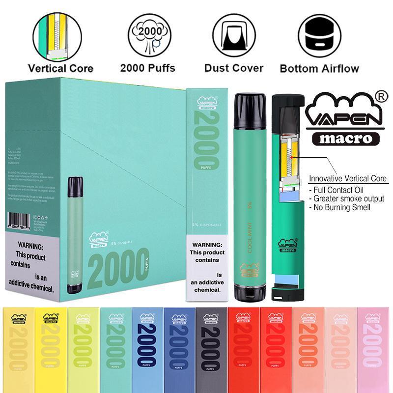 전자 담배 정통 VAPEN 매크로 2000 퍼프가 수직 코일 하단 공기 흐름 기화기 미리 채워진 막대기 기화기