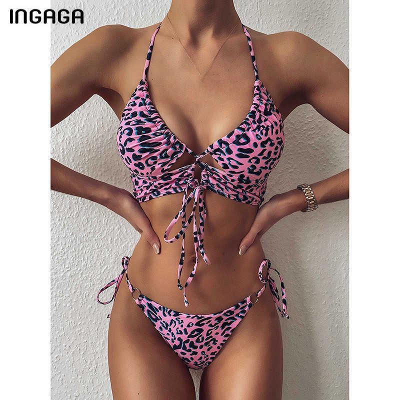 Ingaga 2021 Push Up Bikinis Swimsuits 2021 Leopard Swimwear Women Sexy Thong Bikini Set String Halter Biquini Bathing Suit Women Q0520
