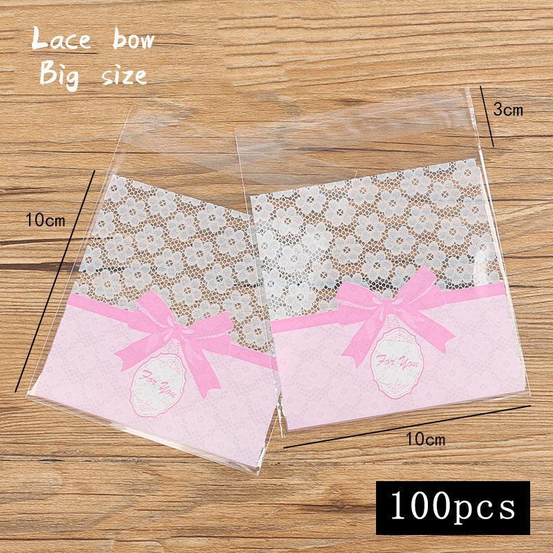 Regalo envoltura 100 unids / lote 10x10 galletas bolsa de embalaje blanco encaje flor rosa arco hecho en casa bocado comida fiesta hornear bizcocho dulces