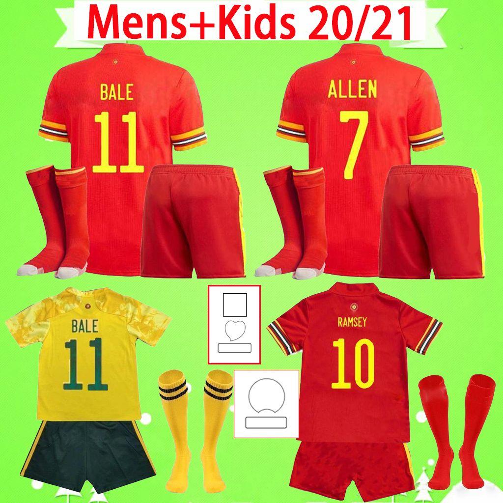 Yetişkin + çocuk seti çorap ile 2021 2022 Galler futbol forması erkek takım elbise 20 21 22 futbol gömlek balya james erkek setleri maillot de ayak çocuk ramsey ev kırmızı uzak sarı camisetas
