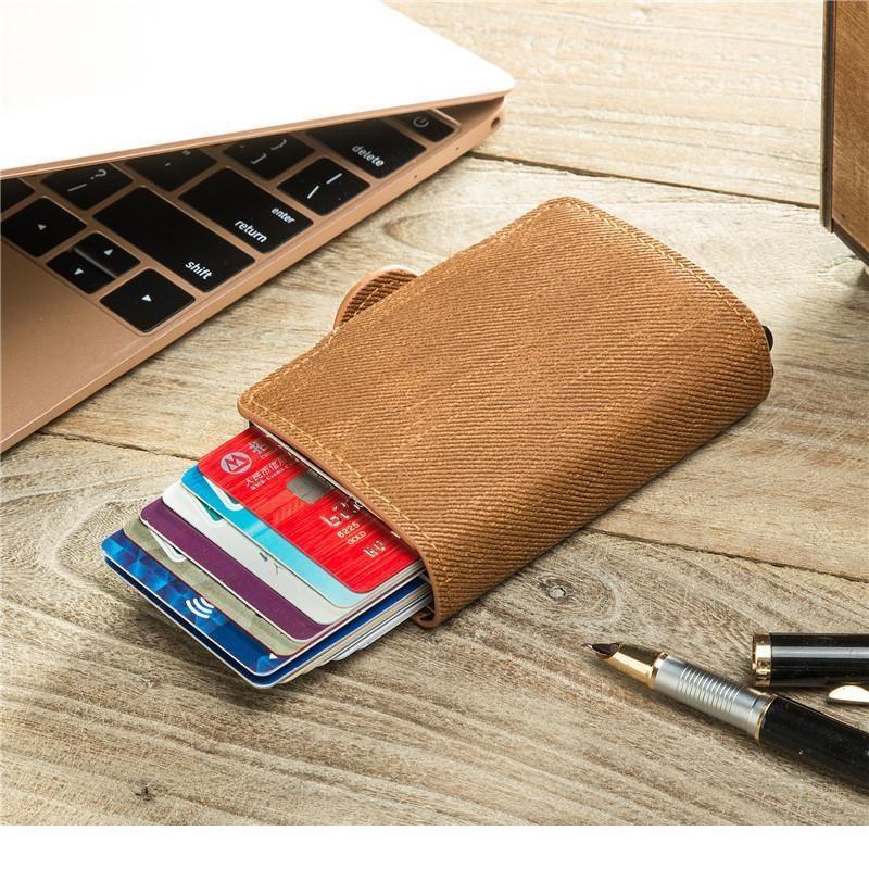 BYCOBECY 2020 Yeni RFID Engelleme Kart Tutucu Anti-Hırsızlık Çift Kutuları Yüksek Kaliteli Kart Cüzdan Denim Moda Pop-up Metal Jllzwm