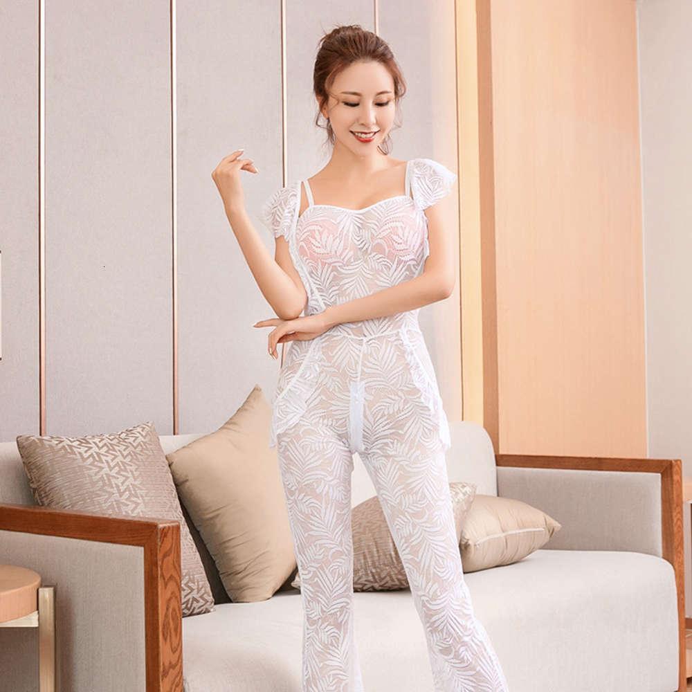 Pijamas Ropa interior para mujer Perspectiva japonesa ahuecada por pijamas sexy Temptación transparente Tentación sin espalda Falda de encaje Pareja