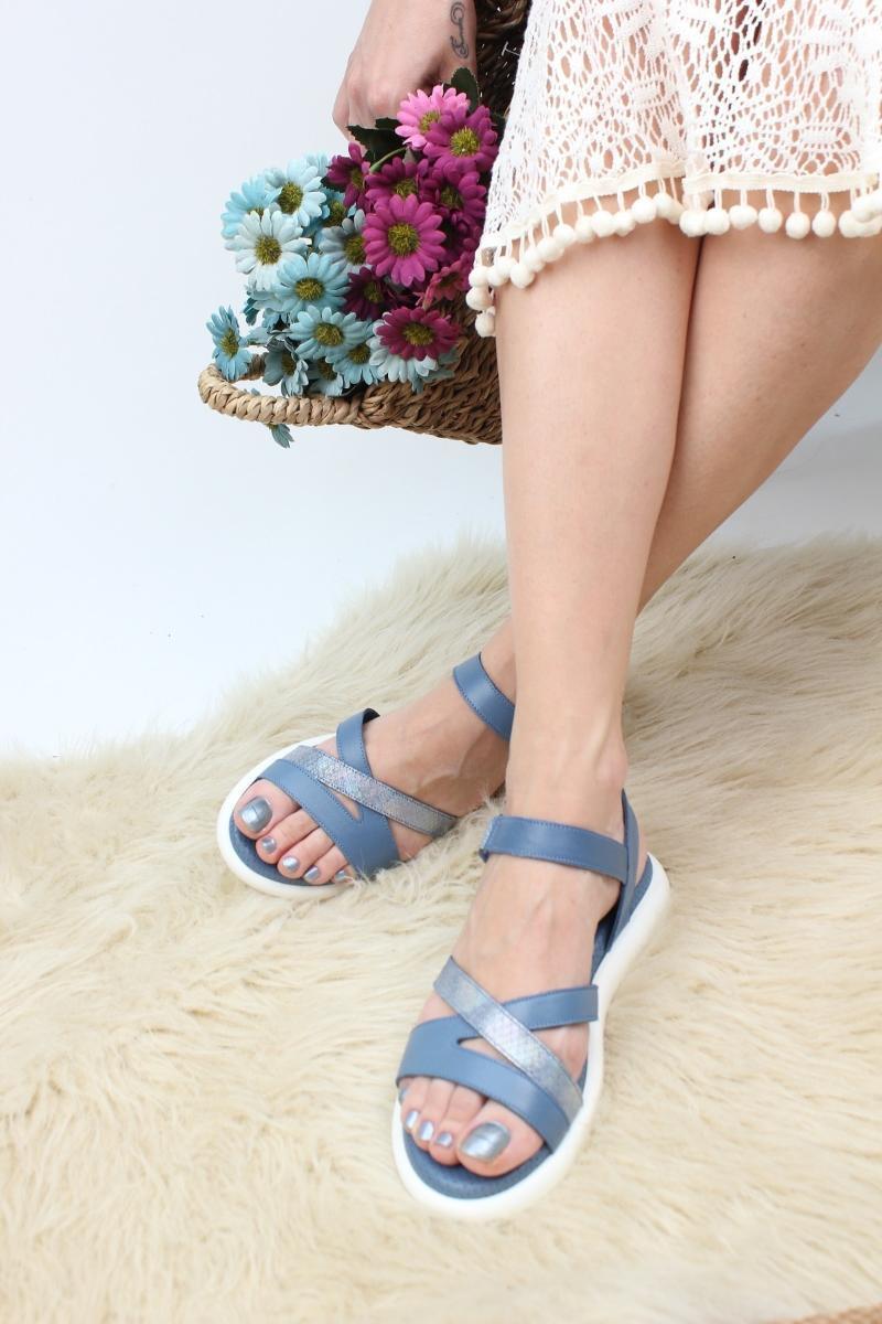 Sandalet Hakiki Deri Rahat Kadın Sezon Mavi Renk