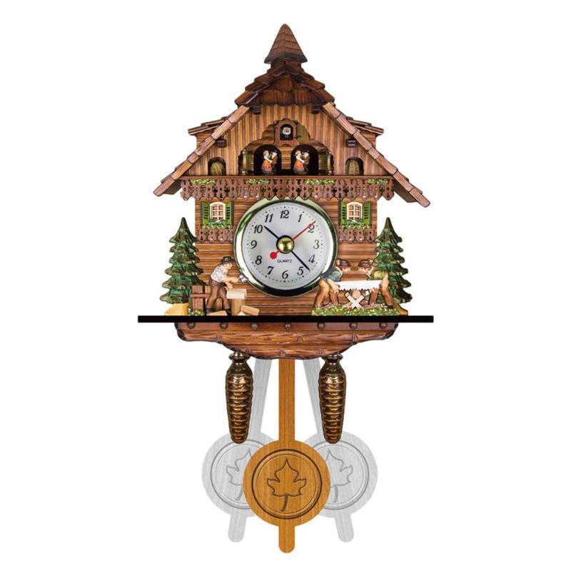 Ahşap El Sanatları Dekor Için Duvar Saatleri Vintage Guguklu Saat Dekor Chime Alarm Retro Oturma Odası Ev Süslemeleri