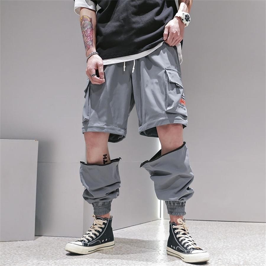Joggers Hop Hop Joggers Hommes Black Harem Pantalons Multi-poche Rubans Homme SweatPants Streetwear Casual Hommes Hommes Détachable Salle T200407