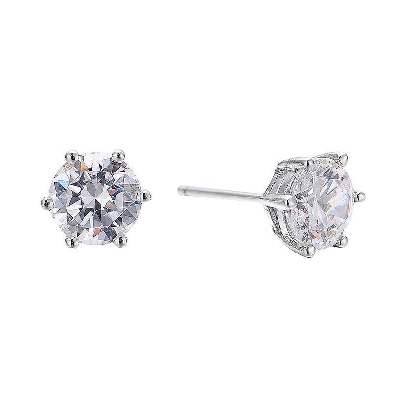 수제 4 발톱 귀걸이 3CT DIANOND 925 스털링 실버 약혼 결혼식 스터드 귀걸이 여성 남성 14 R2