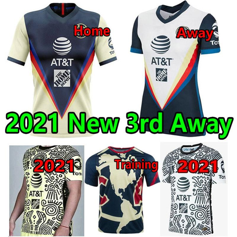 2021 2022 Liga MX Club América Terceiro Amarelo Futebol Jerseys 20 21 3rd Giovani Castillo Futebol Camisa Men + Kit Kit Futbol