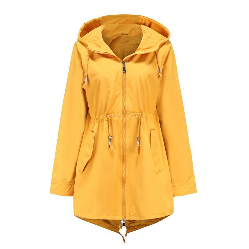 Giacca a vento a vento con cappuccio da donna winsbreaker impermeabile all'aperto giacca a media lunghezza giacca moda moda impermeabile inverno leggero EQBPS