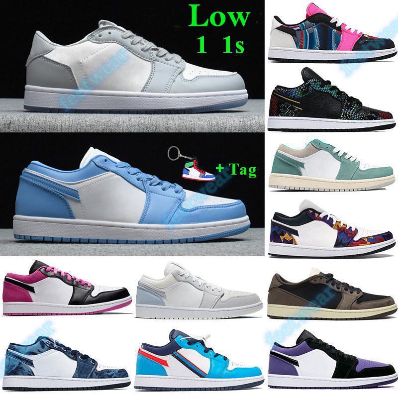TAG 1 1S منخفضة أحذية كرة السلة UNC رمادي أسود الشراع الرجال النساء أحذية رياضية مع سلسلة المفاتيح باريس الأسود اصبع القدم لا شيء سوى صافي المدربين