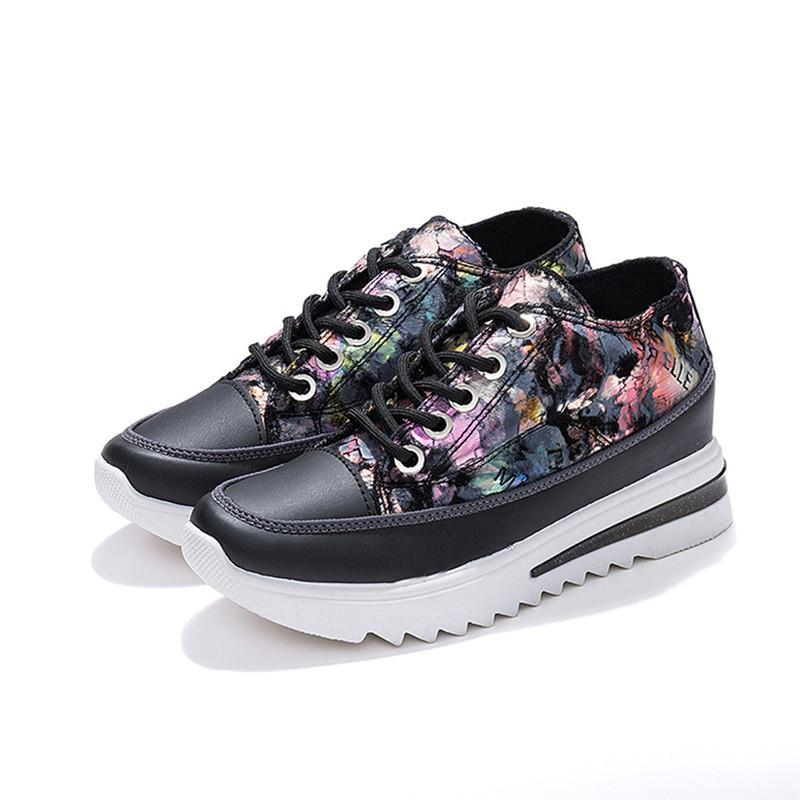 Dress Shoes Lace-Up Pumps Women 2021 Fashion Floral Ladies Casual Creepers Platform Sneakers Zapatos De Mujer