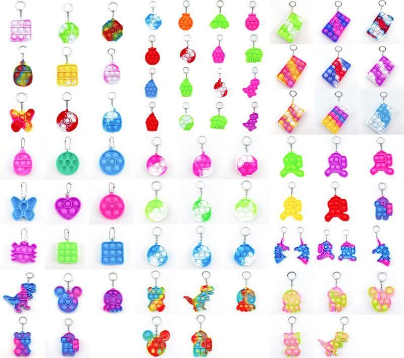 2021 Children Adult Push Bubble Fidget Sensory Toy Key Ring Educational Toy Anti-stress Push It Fidget Toys decompression toy keychain dhl shipping