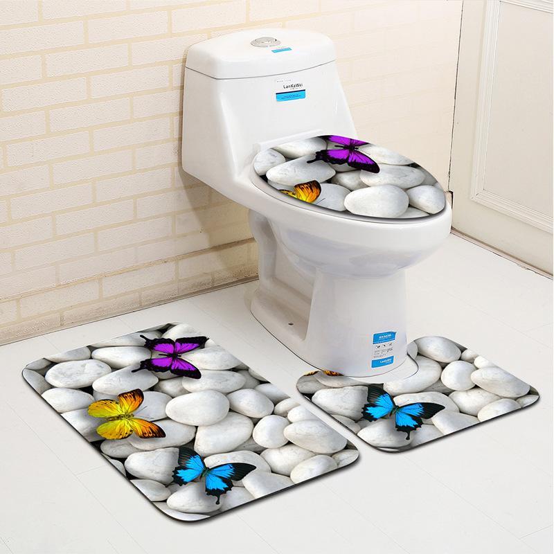 3шт / набор ванна для ванны набор пляжных звездных звезд украшения оболочки гальки узор ванной коврик против скольжения туалет коврик набор ванной 210305