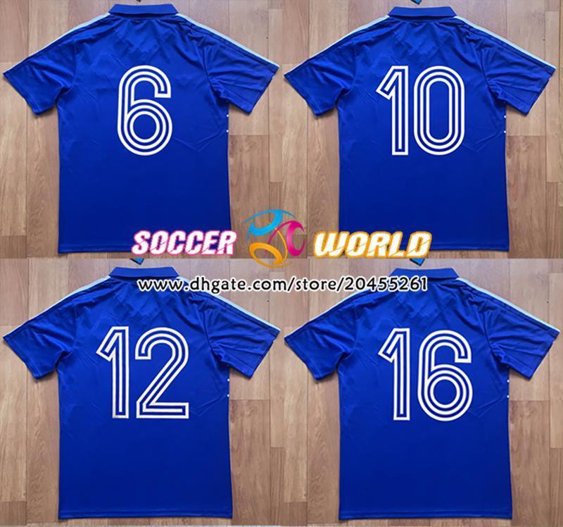 Retro 1984 Francia Fútbol Jerseys 10 # 1986 Francia Blue Football Shirts Tamaño S-XXL