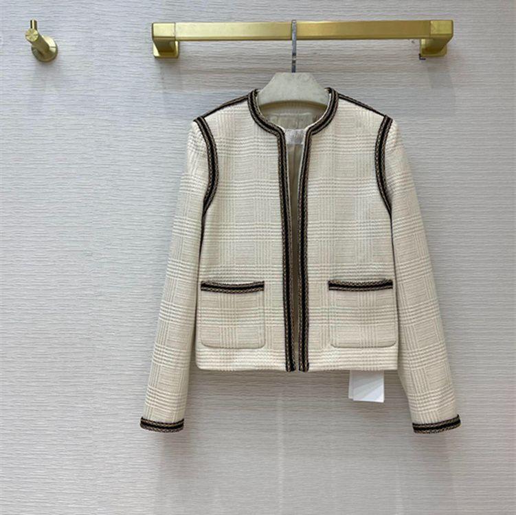 유럽과 미국 여성 2021 겨울 새로운 컬렉션 긴 소매 포켓 라운드 넥 유행 골드 블렌드 트위드 코트