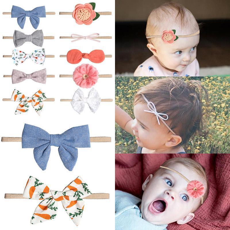 NOUVEAU Bébé Bows Neuf Girls Fleur Fleur Bandeau Princesse Headrap Soft Turban Doubles Discours Headwear Dentelle élastique Bandeaux mignons