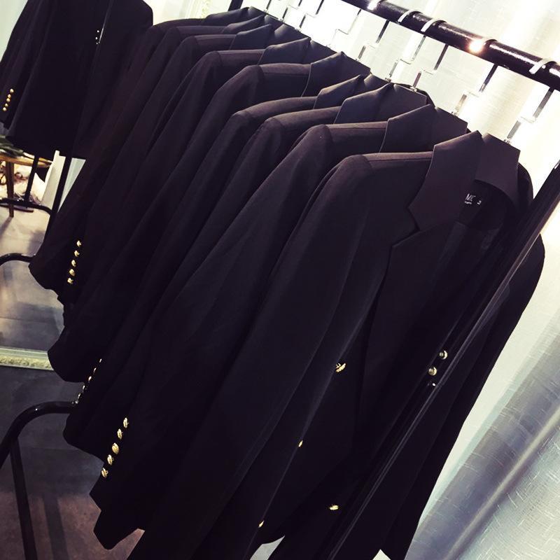 Profesyonel Yüksek Kalite Kadın Takım Elbise Büyük Boy Rahat Kruvaze Mizaç Siyah Bayanlar Ceket Trendy Ofis B CX8U