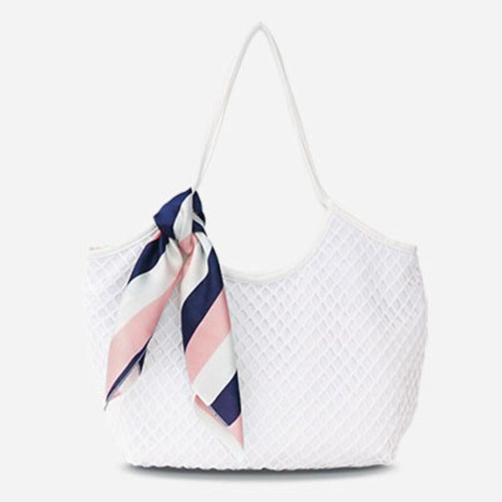 Холст мода повседневная сумка для повседневной сумки Простая выладка сетки Сумка Большая емкость Шарф Сумка Лето Путешествия Пляж Женские Сумки C0312